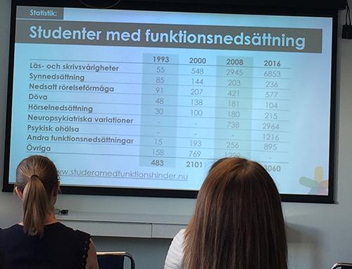 Antal studenter med funktionsnedsättning 1993-2016 - i presentation hos Funka
