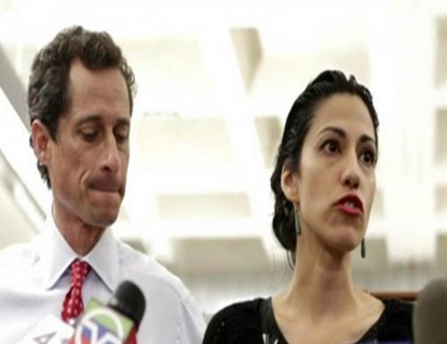 Congressman Anthony Weiner with his estranged wife Huma Abedin