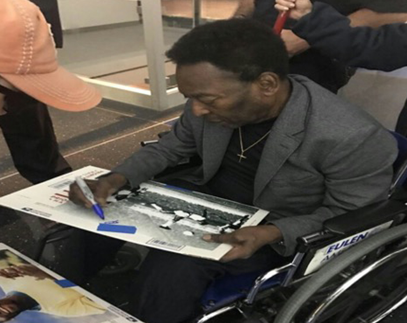 Football Legend Pele, spotted on a wheelchair at JFK airport