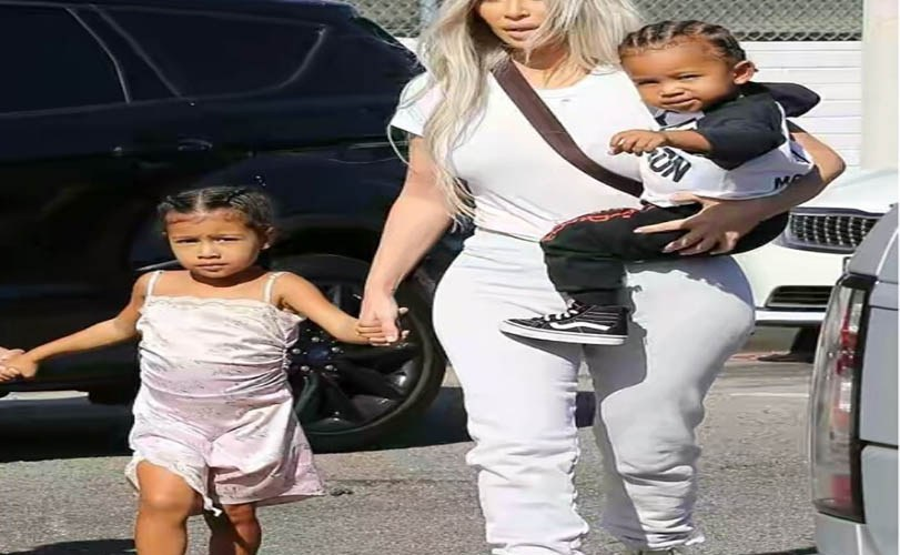 Kim Kardashian one year old son seen spotted with cornrows