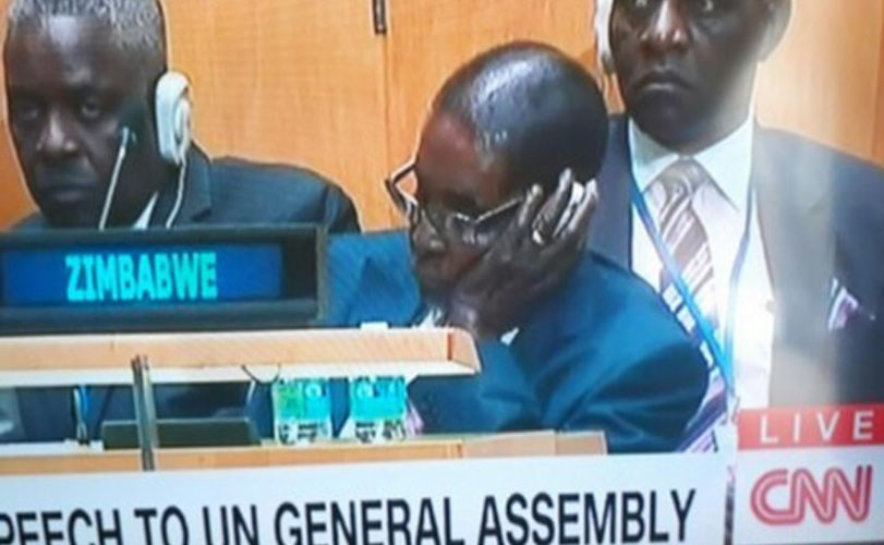 Zimbabwean President asleep during the UN General Assembly 2017