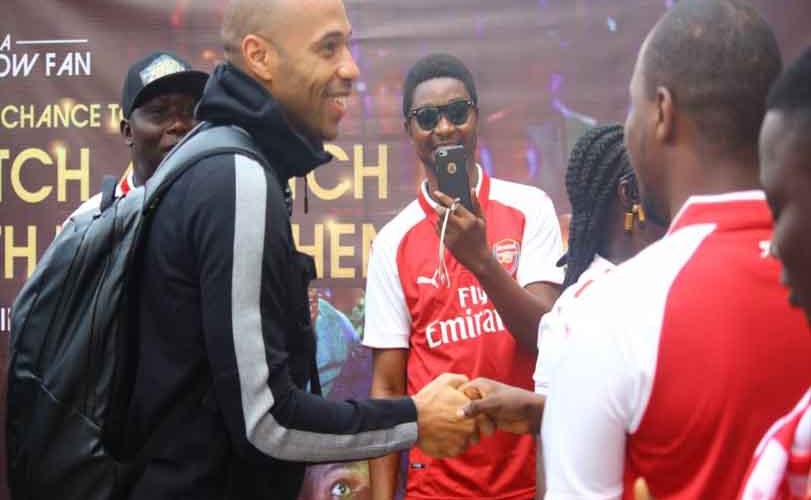 Photos: Arsenal fans welcome football Icon Thierry Henry as he arrives Nigeria for the first Time