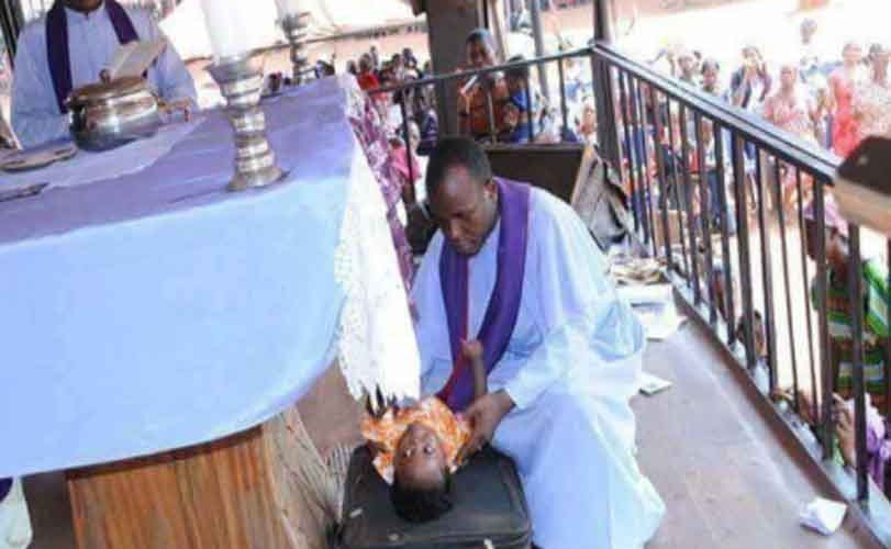 Photos: Father Mbaka allegedly resurrects a dead baby during crusade