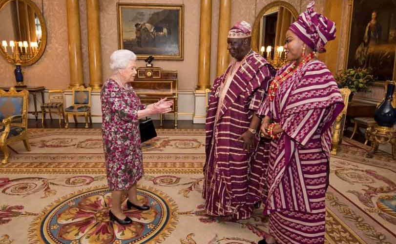 Photos: The Queen of England and Nigeria's Ambassador to the UK break the internet with their 'coordinated' attires