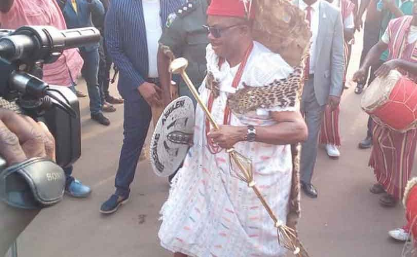 Photos: Anambra state governor, Willie Obiano, dances in Leopard skin as he bags chieftaincy title in Aguleri