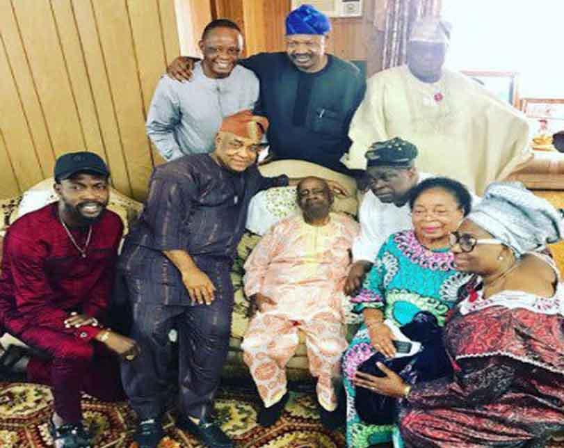 Ex President, Olusegun Obasanjo visits his late wife, Stella Obasanjo's family in Edo