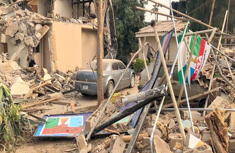 Kaduna factional APC office demolished.