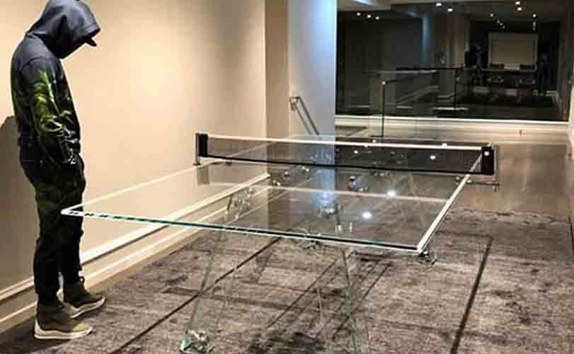 Floyd Mayweather shows off his N10 million crystal glass table tennis