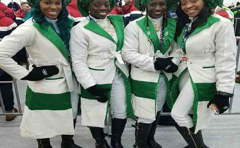 Photos – Winter Olympics 2018: Nigerian Bobsled Team make grand entrance, rock gele