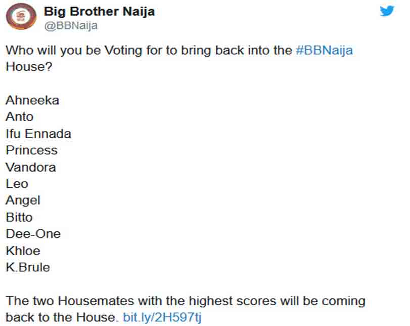 #BBNaija: Nigerians reacts to Big Brother's decision to bring back two evicted housemates