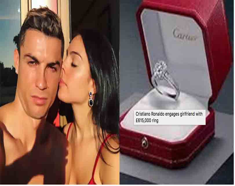 Cristiano Ronaldo engages girlfriend with £615,000 ring