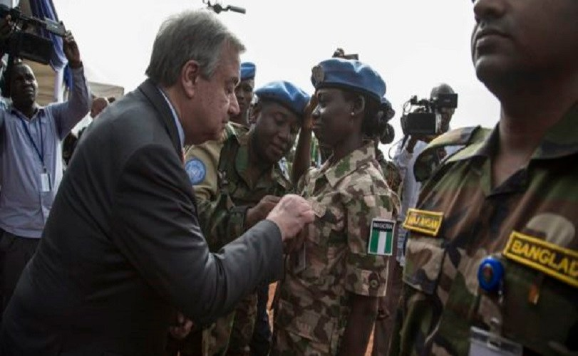 Nigerian Female Military Officer In Peace Mission Gets 'Special Medal' From United Nations