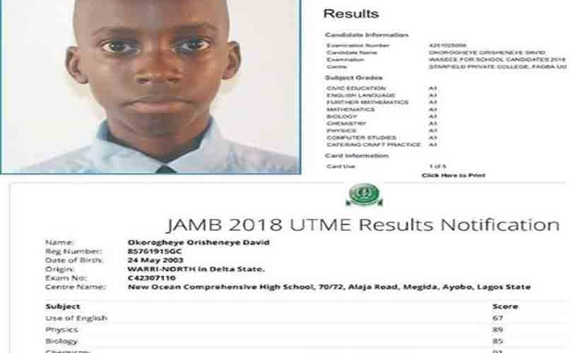Brilliant 15-Year-Old Boy Smashes WAEC With Straight As, Scores 332 In JAMB
