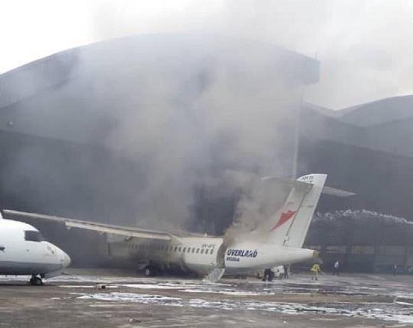 Overland aircraft catches fire (Photos + Video)