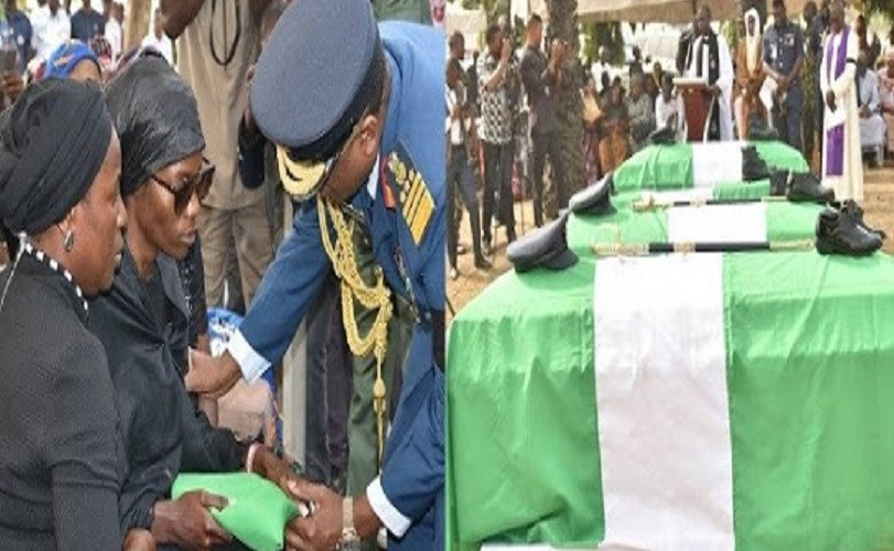 Tears As AirForce Pilots Who Died In Crash Are Buried In Abuja