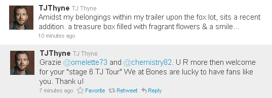 Tj Thyne ringrazia via tweet le fan di i-Bones