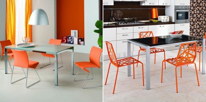 Móveis e acessórios com laranja