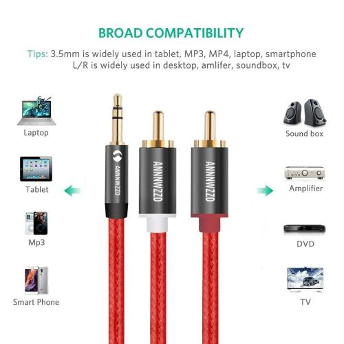 2RCA AUX Male to 3.5mm Jack Audio Splitter Cable for Home Theater Headphone