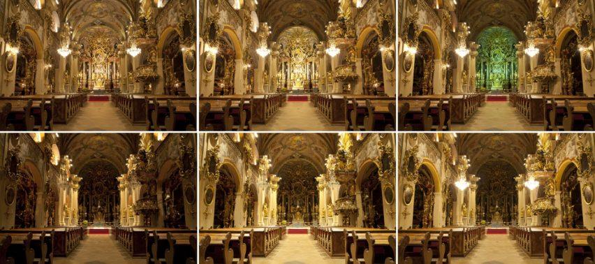 Anhand dieser Bilderreihe erkennt man, wie vielfältig die Beleuchtung der Stiftskirche in Vorau sein kann – für jeden Anlass gibt es eine bestimmte Lichtszene. (Bild: RZB)