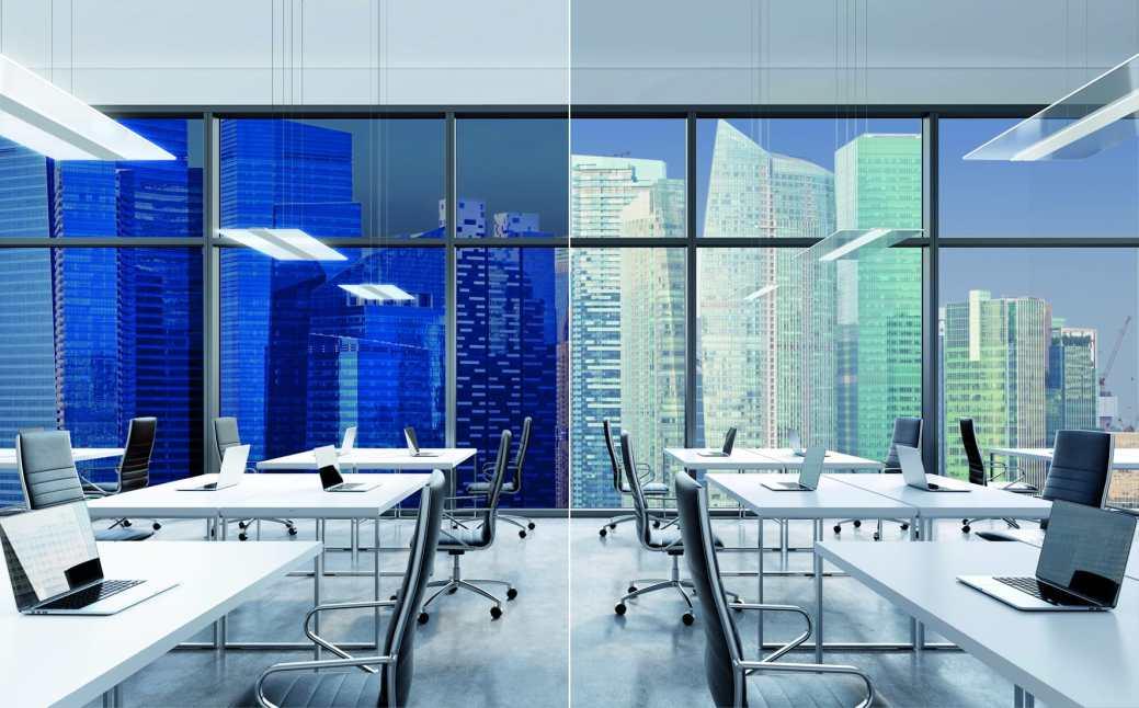 Die Anwendungsfelder für die transparenten Twindot Systeme und eine biodynamische Beleuchtung (HCL) reichen von Büroarbeitsplätzen, Konferenzbereichen, Empfangszonen und Praxisräumen im Gesundheits- und Pflegewesen bis hin zu Pausenzonen und Privathaushalten. Systemkonzept und Design: hartmut s. engel designstudio. (Bild: RZB/Shutterstock)