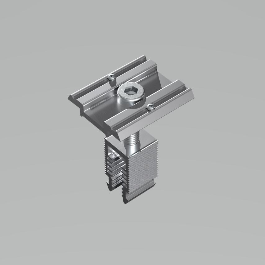 Die Universalklemme CLM10 mit Klick-in-Verbindung und integriertem Erdungspin.