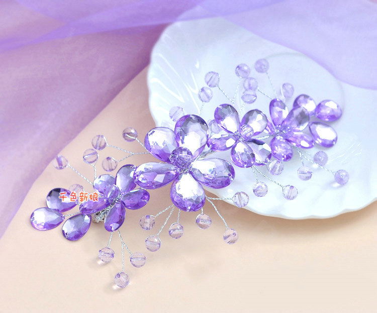Buy Wholesale Plum Flower Purple Crystal Bead Hairwear