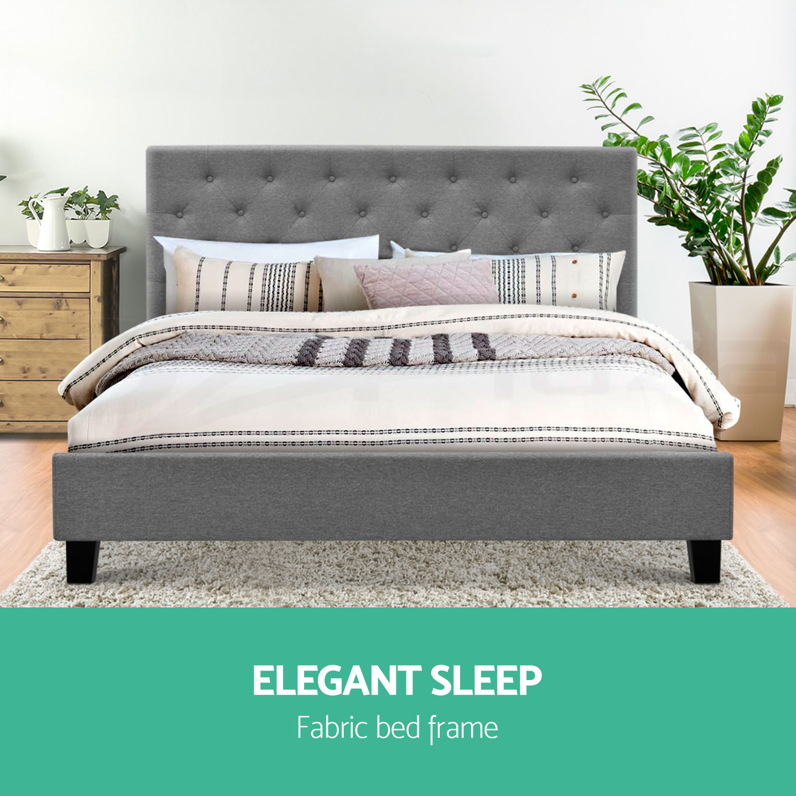 Queen King Double Size Bed Frame Headboard Wooden Gas Lift