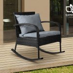 Gardeon Outdoor Furniture Rocking Chair Wicker Garden Patio Lounge Setting Black Ebay
