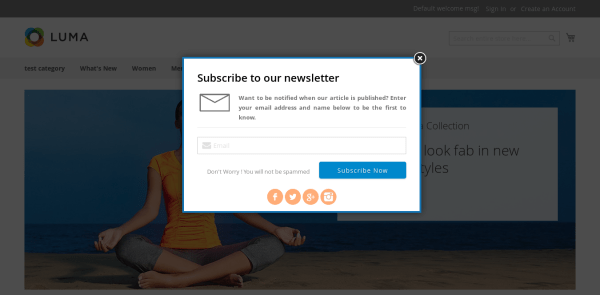 Magento 2 Newsletter Popup style 3