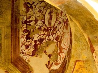 Affresco, scalone del Castello di Giulio II, Ostia Antica