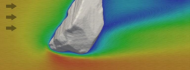 Bild der Simulation der Umströmung eines unregelmässig geformten Partikels