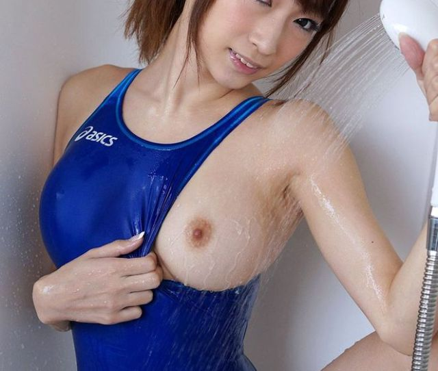 Blue One Piece Swimsuit Pulled Over For Asian Tit Flash