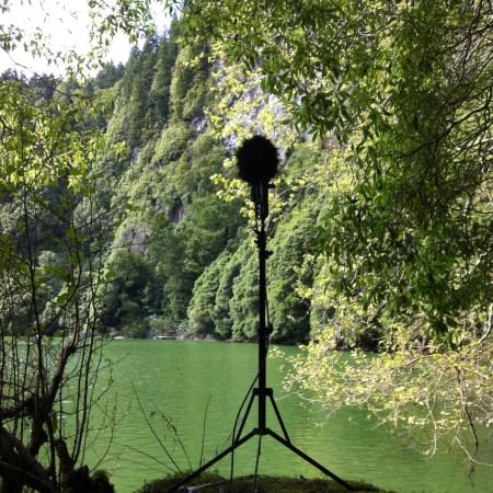 microphone at Lagoa do congro