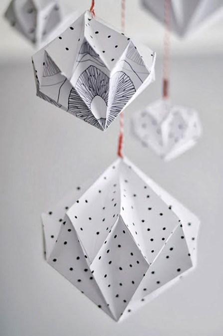 DIY origami diamond mobile
