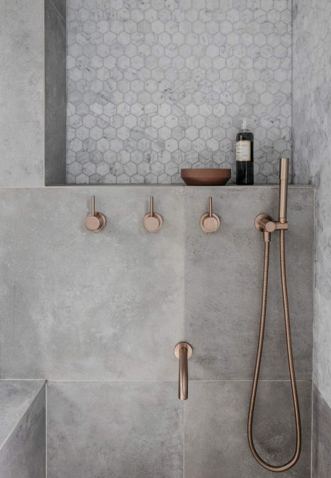Copper and concrete shower luxe