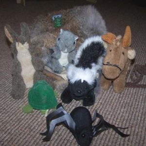A grouping of stuffed finger puppets in the shape of woodland animals.