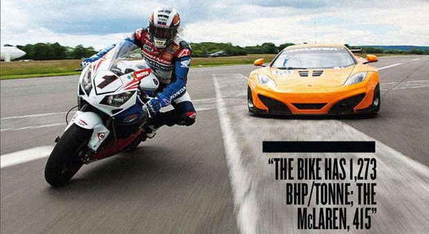 John McGuinness against the Stig in a MacLaren MP4-12C