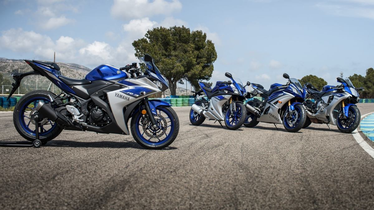 Yamaha R3 along with R125 R6 and R1