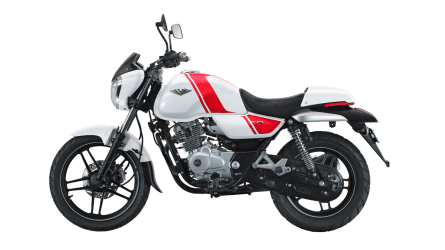 Bajaj V white colour option left side view