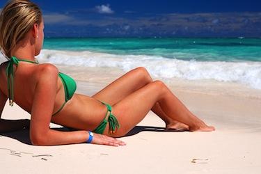 Bikini girl on caribbean beach