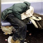 Homeless Man in Subway Car