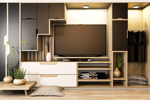 Black and white Cabinet tv mix wardrobe shelf wooden japanese style and decoration plants on shelf.3D rendering