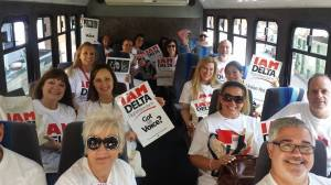 "The IAM Delta campaign stormed Atlanta this week, holding strategy meetings and conducting visibility events at Hartsfield-Jackson International Airport. The first ""Justice Bus"" departs for the airport."