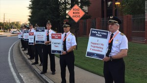 Delta Pilots picket headquarters.