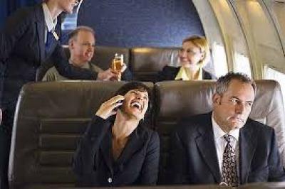 talking airline passenger