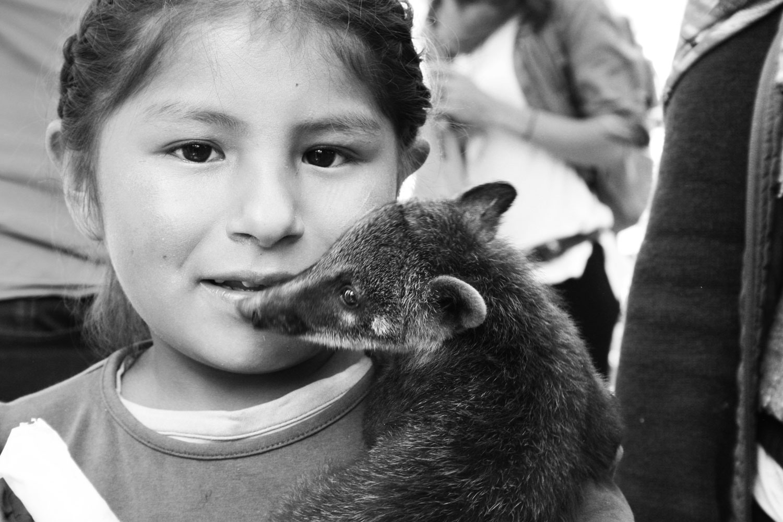 girl with wild animal