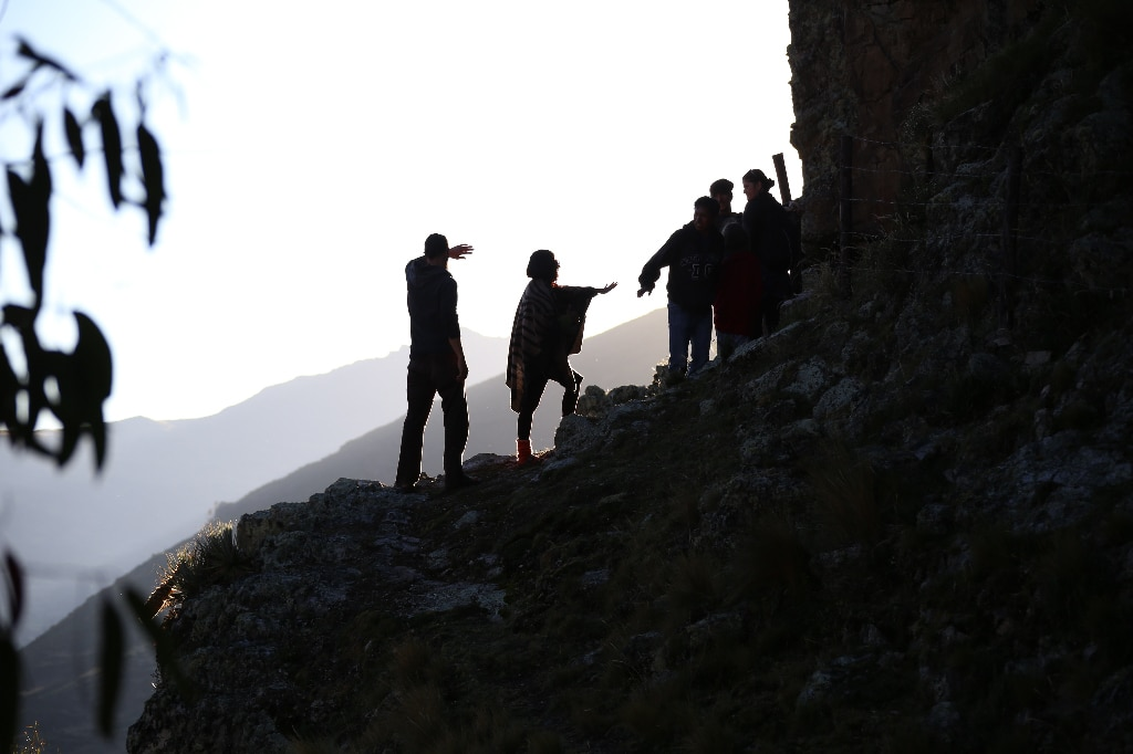people on a mountain