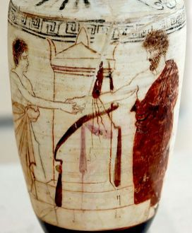 Dexiosis on Attic Lekythos 5th century BCE [Wikipedia]