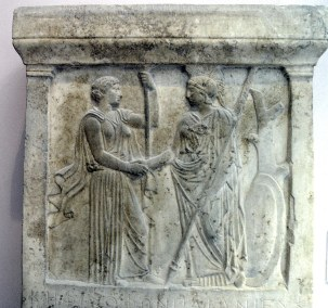 Hera and Athena handshaking, late 5th century BC, Acropolis Museum, Athens
