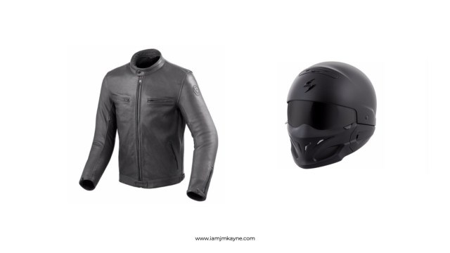 Motorcycle jacket and helmet at iamjmkayne.com.jpg